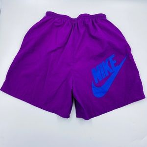 Vintage Nike Swoosh Swim Trunks Lined Purple M EUC